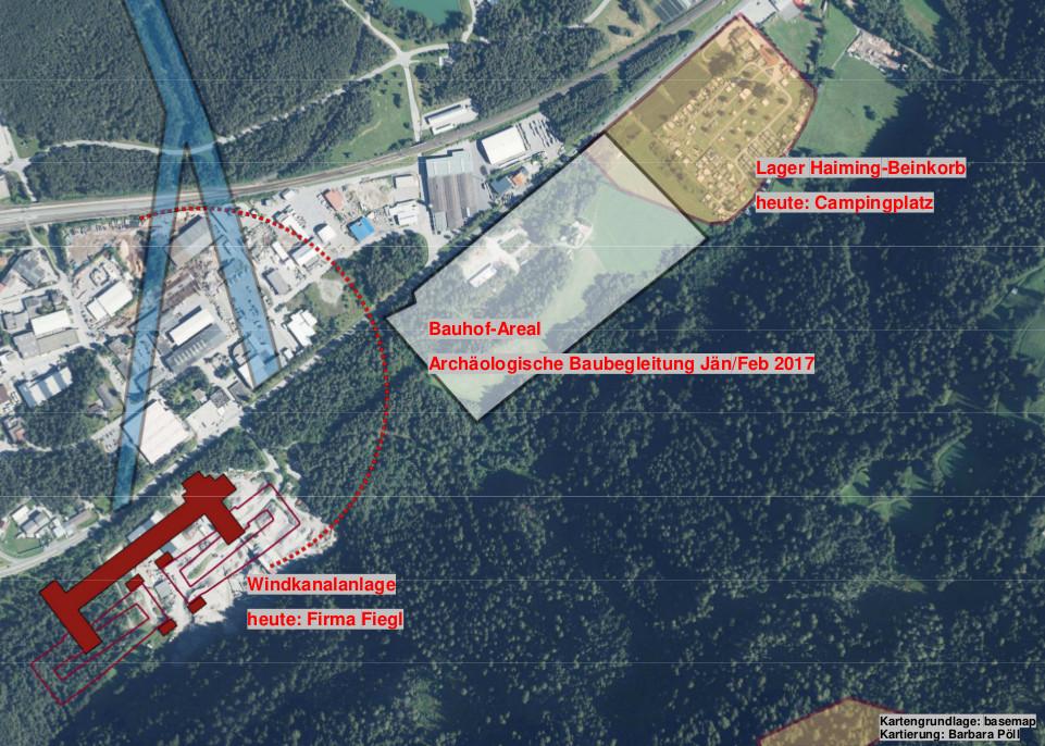 Am ehemaligen Bauhof-Areal (Bildmitte) fanden 2017 archäologische Ausgrabungen statt. Heute befindet sich an dieser Stelle die neue Produktionsstätte der Firma Handl Tyrol.